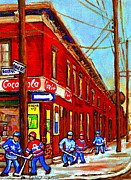 Corner Stores Paintings - When We Were Young - Hockey Game At Piches - Montreal Memories Of Goosevillage by Carole Spandau