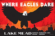 Desert Lake Digital Art Posters - Where Eagles Dare Lake Mead National Recreation Area Poster by Anthony Ross