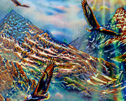 Eagles Mixed Media - Where Eagles Soar by Michael Knight