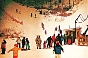 Skiing Art Prints Art - Where is the COW by Marwan George Khoury