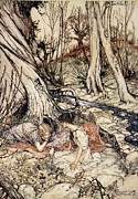 Forest Drawings Prints - Where often you and I upon fain Primrose beds were wont to lie Print by Arthur Rackham