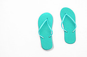 Thongs Framed Prints - Where On Earth Is Spring - My Aqua Flip Flops Are Waiting Framed Print by Andee Photography