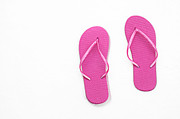 Thongs Framed Prints - Where On Earth Is Spring - My Hot Pink Flip Flops Are Waiting Framed Print by Andee Photography