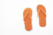 Thongs Framed Prints - Where On Earth Is Spring - My Orange Flip Flops Are Waiting Framed Print by Andee Photography