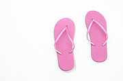 Thongs Framed Prints - Where On Earth Is Spring - My Pink Flip Flops Are Waiting Framed Print by Andee Photography