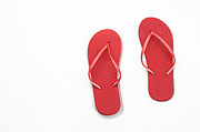 Thongs Framed Prints - Where On Earth Is Spring - My Red Flip Flops Are Waiting Framed Print by Andee Photography