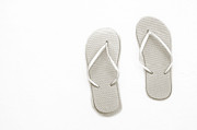 Thongs Framed Prints - Where On Earth Is Spring - My Silver Flip Flops Are Waiting Framed Print by Andee Photography