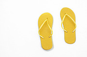 Thongs Framed Prints - Where On Earth Is Spring - My Yellow Flip Flops Are Waiting Framed Print by Andee Photography