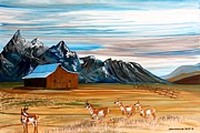 Teton Paintings - Where the Antelope Play by Mike Nahorniak