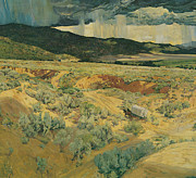 Walter Prints - Where the Desert Meete the Mountain Print by Walter Ufer