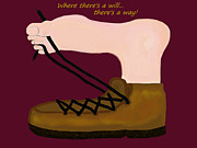 Shoe Laces Digital Art - Where Theres A Will with Text by Elizabeth S Zulauf