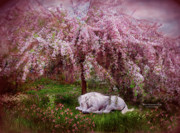 Tree Art Print Mixed Media - Where Unicorns Dream by Carol Cavalaris