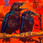 Crows Paintings - Wheres Our Breakfast by Carol  Nelson