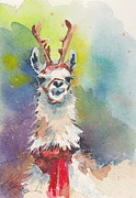 Christmas Alpaca Posters - Whidbey Island Reindeer Poster by Judi Nyerges