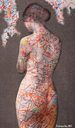 Map Print Digital Art Metal Prints - While Her Back was turned Metal Print by Frederique  Roy