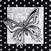 Small Abstract Paintings - Whimsical Black and White Butterfly Original Painting Decorative Contemporary Art by MADART Studios by Megan Duncanson