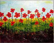 Poppies Field Paintings - Whimsical Flower by Daniela Fodor