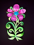 Metal Art Sculpture Originals - Whimsical Flower by Diane Snider