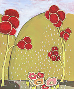 Cindy Davis Posters - Whimsical Flower Tree Landscape Painting Poster by Cindy Davis