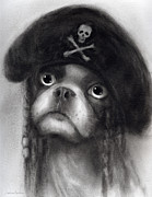 Funny Dog Drawings - Whimsical Funny French Bulldog Pirate  by Svetlana Novikova