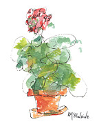 Geranium Paintings - Whimsical Geraniums and Clay Pots by Kathleen McElwaine