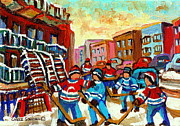 Hockey Painting Posters - Whimsical Hockey Art Snow Day In Montreal Winter Urban Landscape City Scene Painting Carole Spandau Poster by Carole Spandau