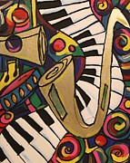 Whimsical Jazz 2 Print by Cynthia Snyder