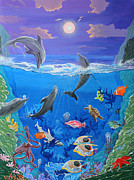 Dolphin Art Paintings - Whimsical Original Painting UNDERSEA WORLD Tropical Sea Life Art by MADART by Megan Duncanson