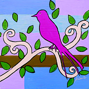 Flower Paintings - Whimsical Pink Bird by Pristine Cartera Turkus