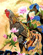 Watercolor Roosters Framed Prints - Whimsical Rooster Framed Print by Amanda  Stewart
