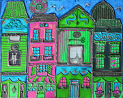 Silver Turquoise Mixed Media - Whimsical Street in Paris 2 by Cynthia Snyder