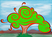Manley Framed Prints - Whimsical Tree on Blurred Landscape Framed Print by Gina Manley