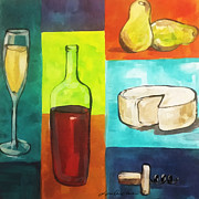 Brie Framed Prints - Whimsical Wine And Cheese Framed Print by Lisa Owen-Lynch