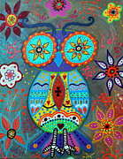 Pristine Cartera Turkus Prints - Whimsical Wise Owl Print by Pristine Cartera Turkus