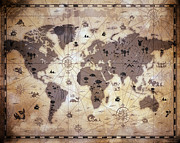 Whimsical Children Prints - Whimsical World Map 1 Print by Angelina Vick