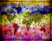 Flypaper Textures Mixed Media Framed Prints - Whimsical World Map 2 Framed Print by Angelina Vick