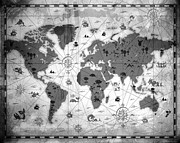 Old Map Mixed Media Prints - Whimsical World Map BW Print by Angelina Vick