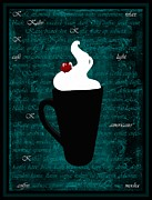 Night Cafe Digital Art Posters - Whipped Cream Coffee Poster by Barbara St Jean
