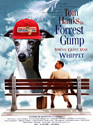 Whippet Painting Prints - Whippet Art - Forrest Gump Movie Poster Print by Sandra Sij