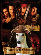 Whippet Painting Prints - Whippet Art - Pirates of the Caribbean The Curse of the Black Pearl Movie Poster Print by Sandra Sij
