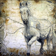Wild Horse Paintings - Whipsers Across the Steppe by Enzie Shahmiri