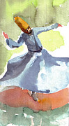 Concentration Painting Posters - Whirling Dervish Poster by Faruk Koksal