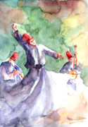 Concentration Painting Posters - Whirling Dervishes Poster by Faruk Koksal