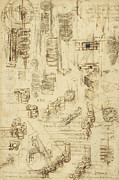 Italian Drawings Prints - Whirling rotation and helicoidal chains and springs for mechanical devices Print by Leonardo Da Vinci