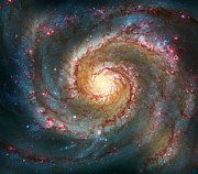 Telescope Images Metal Prints - Whirlpool Galaxy  Metal Print by The  Vault