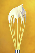 Steel Posters - Whisk with whip cream on top Poster by Sandra Cunningham