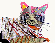 Cat Portraits Mixed Media Prints - Whiskers Print by Brian Buckley