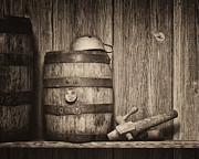 Moonshine Posters - Whiskey Barrel Still Life Poster by Tom Mc Nemar