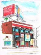 Acuarelas Paintings - Whisky-A-Go-Go in West Hollywood - California by Carlos G Groppa