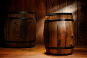 Wooden Metal Prints - Whisky Barrel Metal Print by Olivier Le Queinec